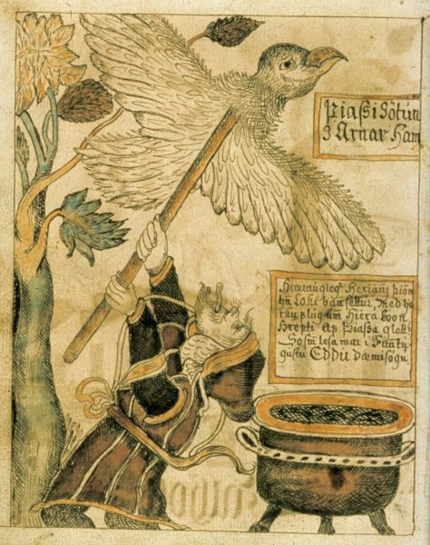 The giant Thassi in Disguise to an eagle steals meat from the gods. Illustration in The Olafur Brynjulfsson Edda 1760, a manuscript which contains material from both the Younger and Elder Edda. Date