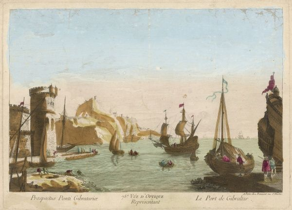 The harbour of Gibraltar, before the British established their naval base here