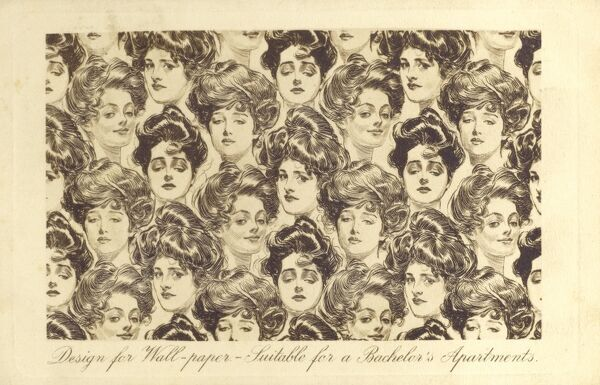 Gibson girl wallpaper - 'suitable for a Bachelor's Apartments.' Date: circa 1910s