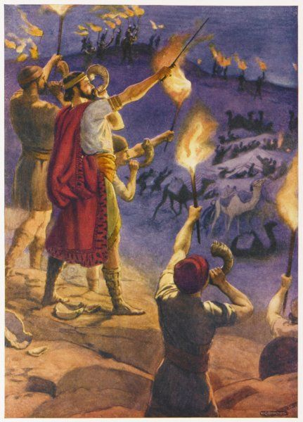 Gideon, with encouragement from God, leads his fellow- Israelites against the Midianites, who are forced to retreat from the Promised Land