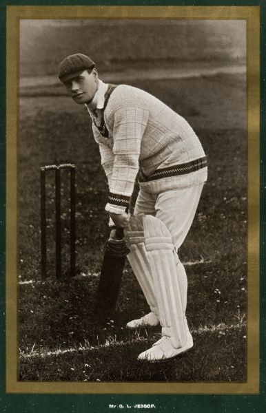 Gilbert L Jessop (1874 - 1955) Gloucestershire and England cricketer. Played for his country between 1899 and 1912). A formidable batsman and cover-point Date: (1874 - 1955)