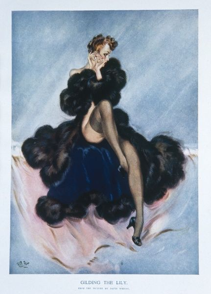 A David Wright illustration of a lady wrapped in a large fur coat. She looks away from the viewer, whilst putting in here earring. Wright produced a series of over 160 illustrations or 'pin-ups' for 'The Sketch' during the 1940's
