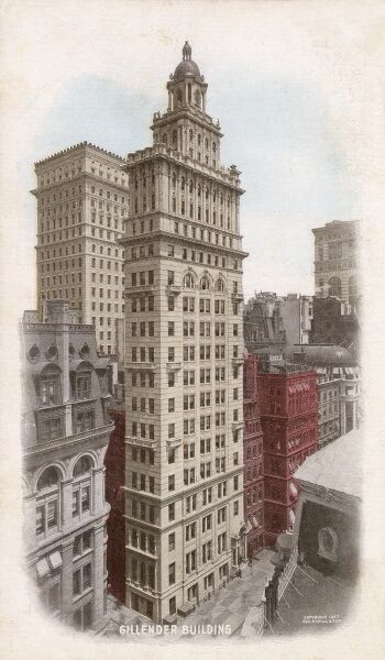 Gillender Building, New York, USA, built in 1897. Demolished in 1910 to make way for the 37-storey Bankers' Trust Building. Date: 1897