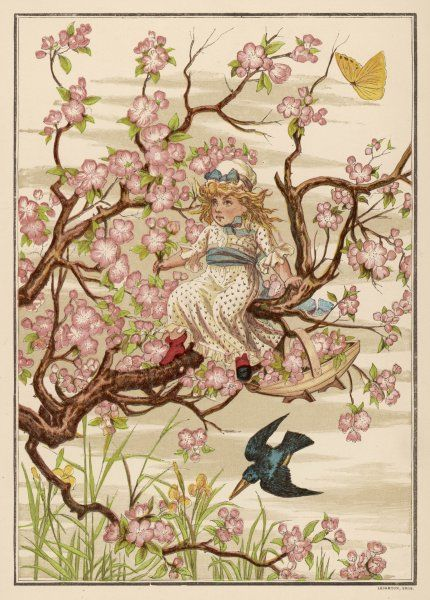 A little girl sits in an apple tree, surrounded by blossom