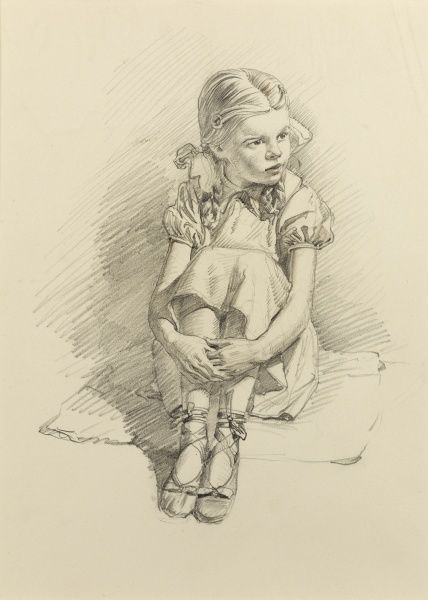 A young girl seated on a small mat, wearing her ballet shoes and wearing her hair in bunches. Pencil sketch by Raymond Sheppard