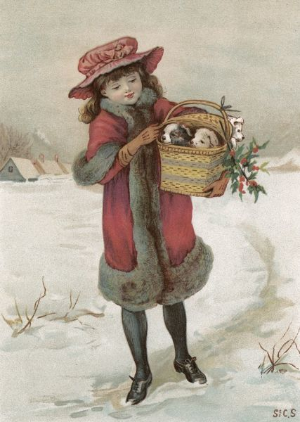 A girl walks through the snow carrying two puppies in a basket - doubtless a Christmas present for someone who, let's hope, will remember that a dog is not just for Christmas ! Date: circa 1890