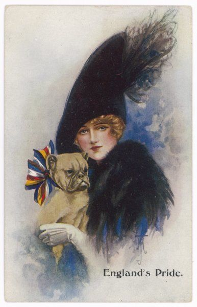 'England's Pride' A girl with her patriotic bulldog