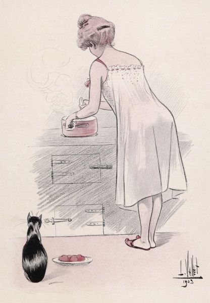 A young woman in a chemise with threaded ribbon detail, a flat pair of mules & with a door-knocker top knot hairstyle, stirs a saucepan. Her cat sits by his food