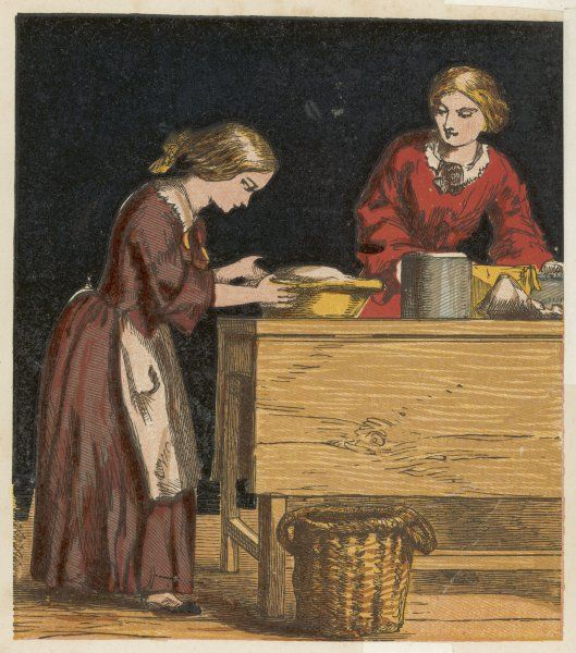 A Victorian girl making a gooseberry pie with help from mother