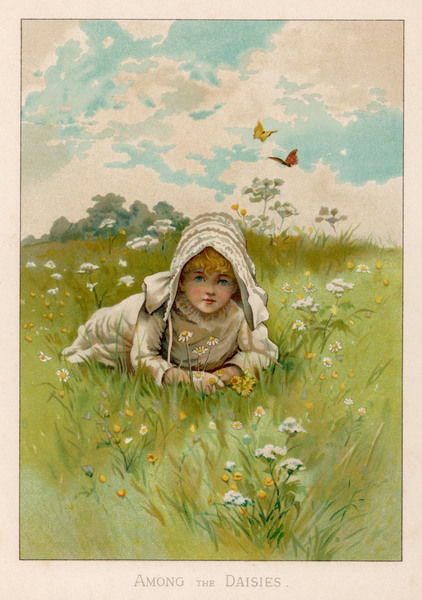 A little girl lies among the daisies in a spring meadow