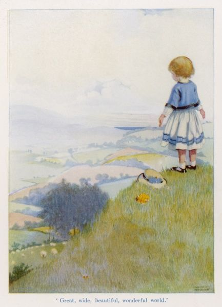 A small girl admires the beauty of the great, wide, wonderful world from a hill top