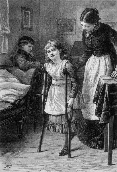 A young girl is assisted with her crutches as she takes her first tentative steps with them