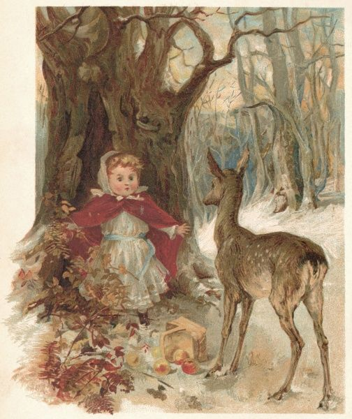 A small girl, alone in a snowy wood, is alarmed when an inquisitive deer approaches. Date: 1870