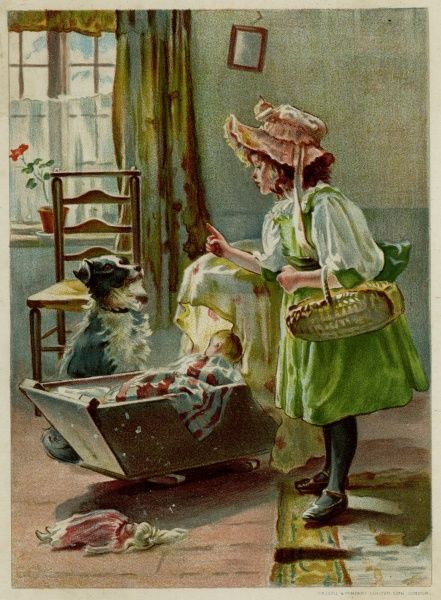 A little girl dresses up like mamma and instructs her dog to look after the baby (doll) in the cradle while she is out shopping. Date: 1894