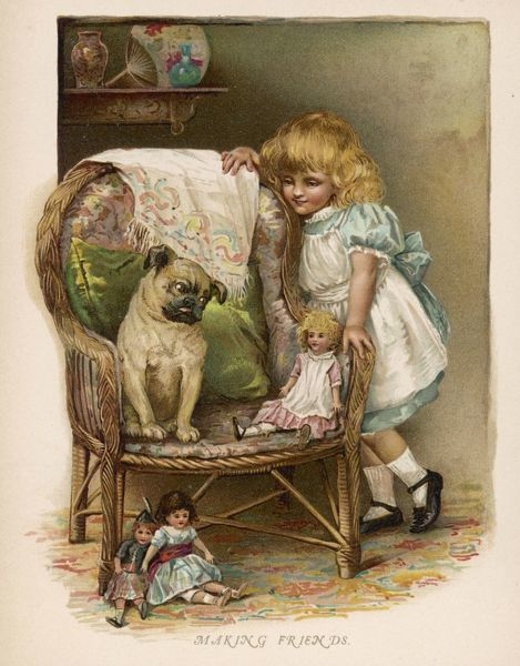 A pug gives a sideways look at the doll whose owner is hoping they will be friends
