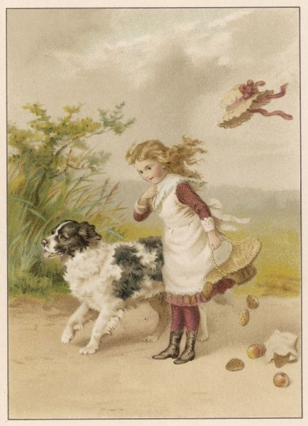 A girl and her dog on a windy day - her hat has blown off and the contents of her basket have fallen on the floor