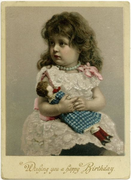A small girl clutches her doll Date: circa 1900
