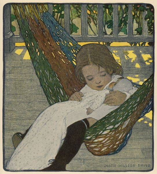 A small American girl cuddles her doll in a hammock