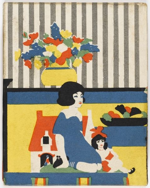 A bold and colourful art deco back cover of a children's book jacket depicting a little girl playing indoors with her doll and dolls' house