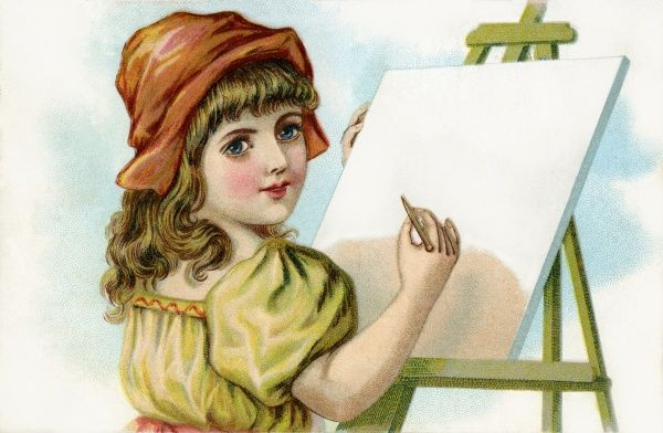 Girl drawing at easel. Illustrator Anon. Date: circa 1903