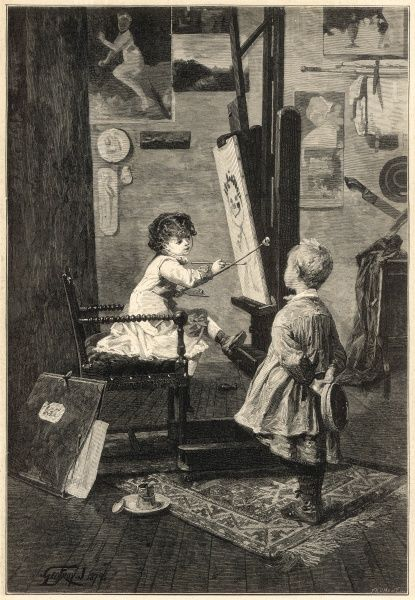 A small girl sits at an easel painting her older brother while he models for her. The title for the picture is 'Resemblance not guaranteed' which seems rather appropriate