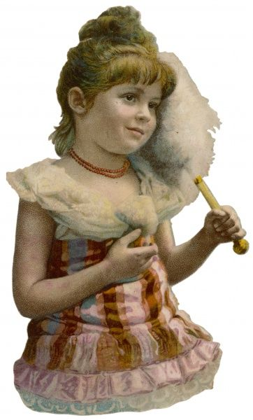 A girl with a feather fan
