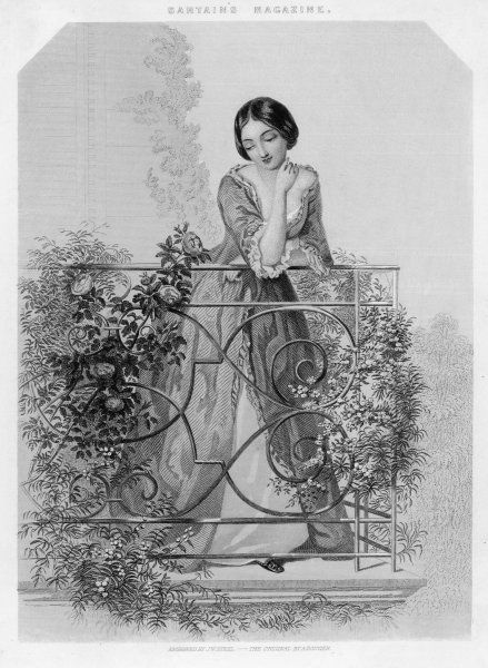 Dreamy girl on rose-laden balcony ('The Dewdrop')