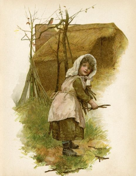 A little country girl gathers twigs for kindling