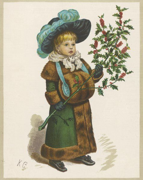 Girl in fur-trimmed coat, fur muff, gloves and feathered hat, carrying a fair-sized branch of holly