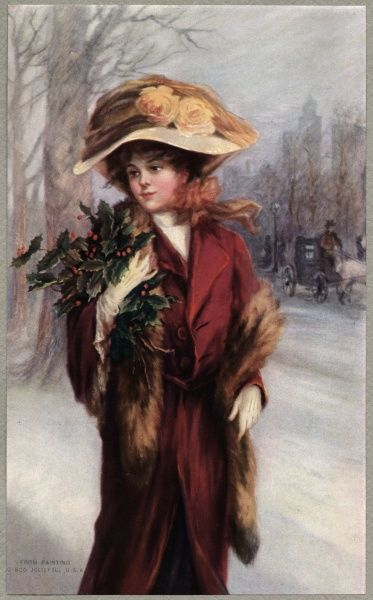 This New York girl has just been into Central Park to pick some holly and now she's taking it home to decorate her apartment Date: 1912
