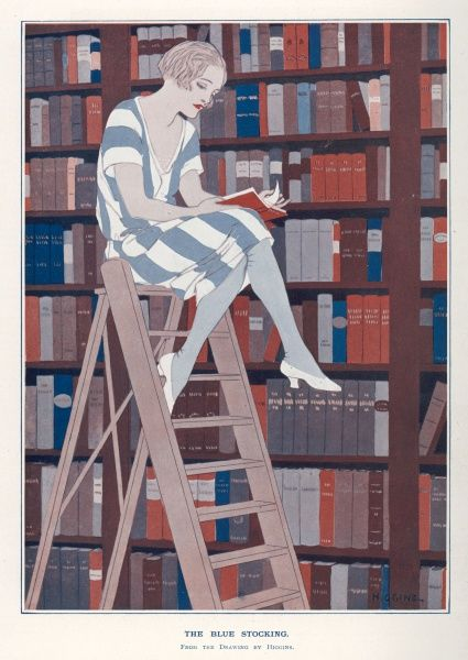 The girl on the library ladder