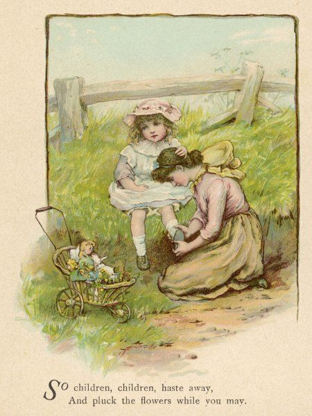 Two sisters go for a walk in the country with a doll in a pram; the younger sister's shoe comes loose - a typical countryside hazard!