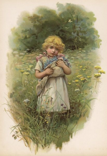 A little girl in a meadow with her apron full of flowers she has picked