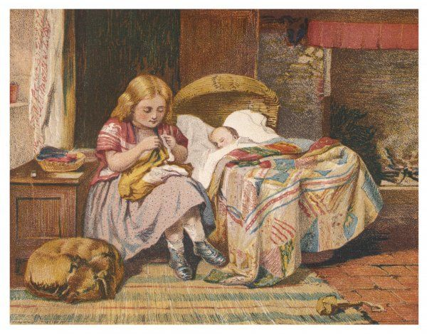 A little girl minds the baby and does a bit of sewing at the same time, while the dog sleeps at her side