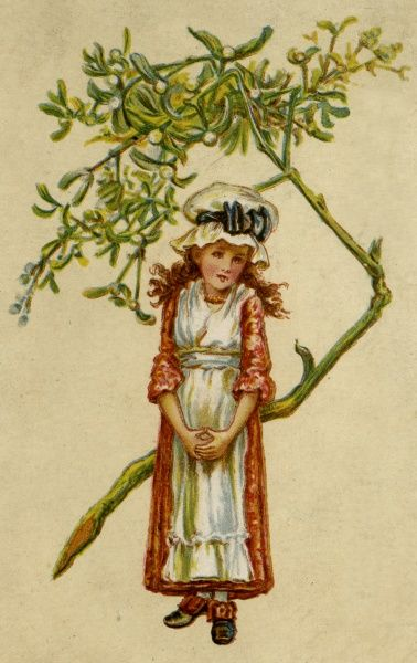 A girl and a sprig of mistletoe Date: circa 1880