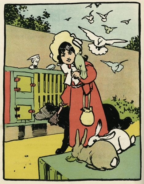 A girl and her pets: two rabbits, a dog and various birds. Date: circa 1900