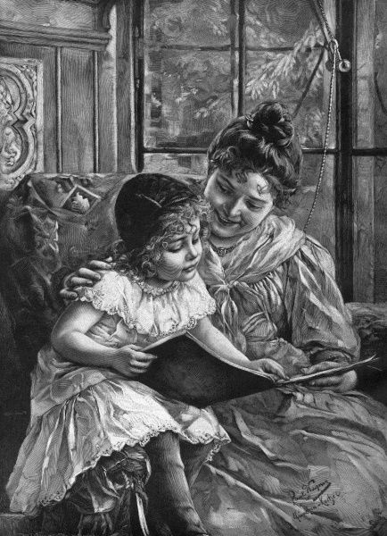 'Den nya bilderboken' (Approximate translation : the new picture-book) Mother and daughter enjoy it together. Date: 1907