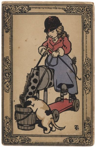 A little girl in riding gear on her toy horse: a puppy shares a bucket of bran with the horse!