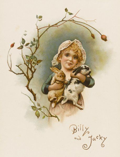 A little girl with her two pet rabbits, Billy and Jacky