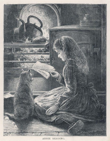 'Annie' reading before the hot embers of the family stove, providing heat and light