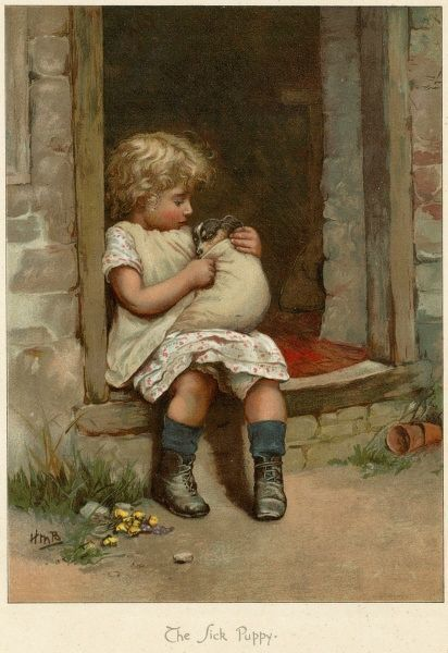 A young girl sits on the step of her house, nursing a sick puppy