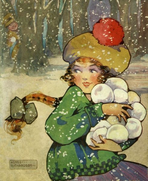 Girl with snowballs.  20th century