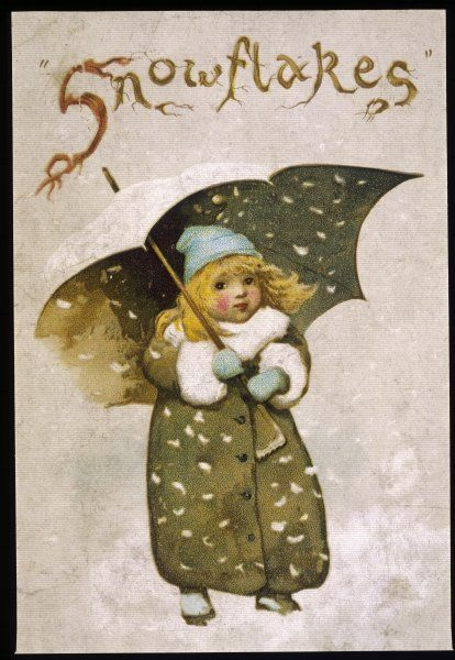 A young girl looks out from beneath the protection of her umbrella at the snowflakes which are drifting earthwards all around her