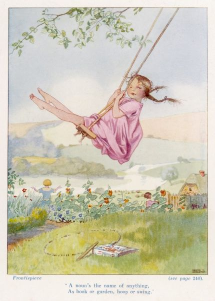 A young girl on a swing attached to a tree. Her reading book and hoop lie abandoned in the grass