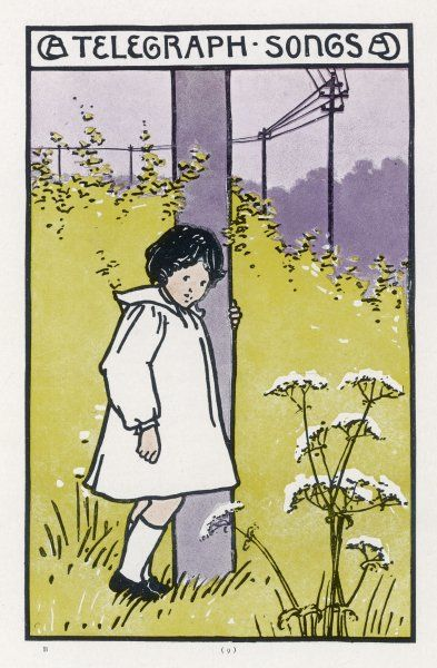 A little girl in a meadow listening to 'telegraph songs' by a telegraph pole
