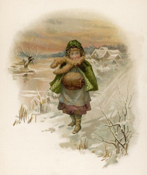 A little girl, well wrapped up against the cold, goes for a walk in a snowy country landscape