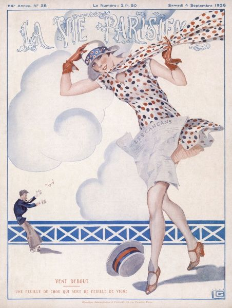 A girl heads into the wind on a seaside esplanade : the artists of La vie Parisienne are very fond of depicting their models in windswept situations