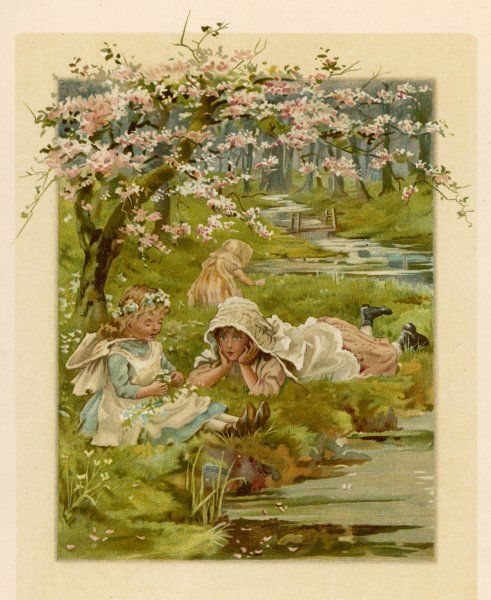 Three little girls on the bank of a stream, surrounded by flowers and blossom