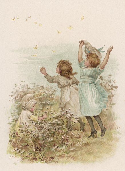 Two little girls chase a swarm of butterflies while their younger sister sits among the flowers