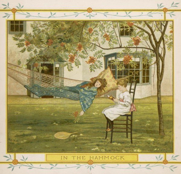 Two little girls in a garden, one relaxing in a hammock, the other reading a book
